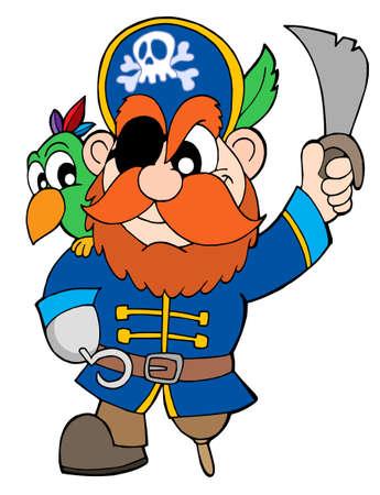 filibuster: Pirata con la sciabola e il pappagallo - illustrazione vettoriale.