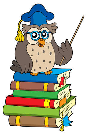 narrate: Owl teacher and books - vector illustration. Illustration