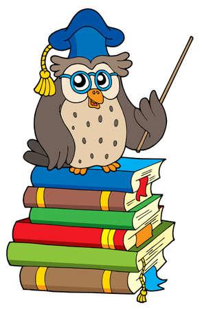 Owl teacher and books - vector illustration. Ilustracja