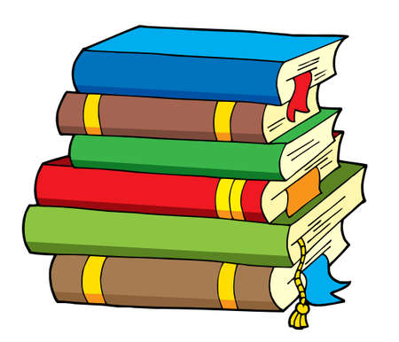 pile books: Pile of various color books - vector illustration. Illustration