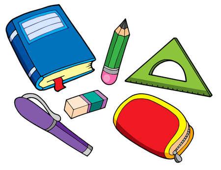 book case: Various school properties - vector illustration.