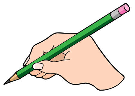 Writing hand with pencil - vector illustration.