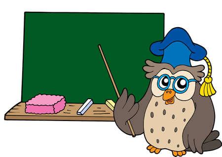 maestra ense�ando: Owl maestro con pizarra - ilustraci�n vectorial.