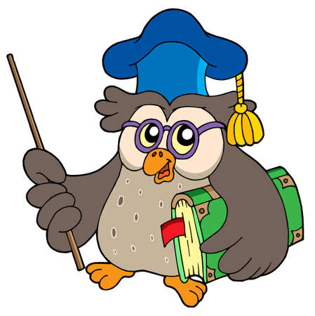narrate: Owl teacher with book and pointer - vector illustration.