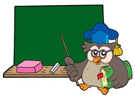 narrate: Owl teacher with book and blackboard - vector illustration.