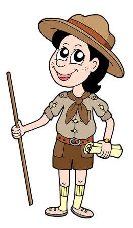 Boy scout met walking stick - vector illustratie.