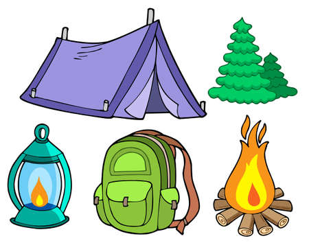 outdoor bag: Collection of camping images - vector illustration.