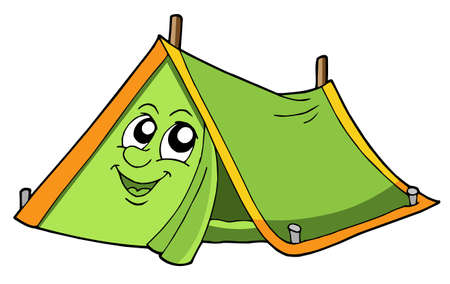 tent vector: Cute tent with smiling face - vector illustration.