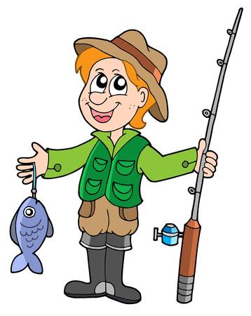 Fisherman with rod - vector illustration.