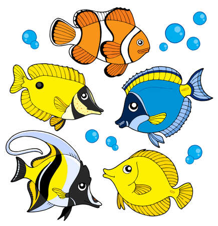reefs: Coral fish collection - vector illustration.