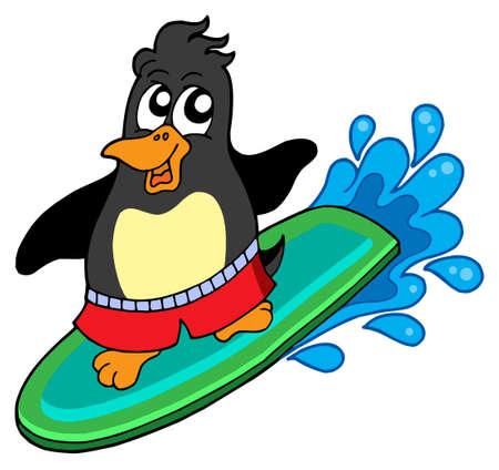 aquatic bird: Surfing penguin on white background - vector illustration. Illustration