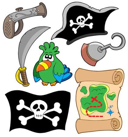 Pirate Ausrüstung Sammlung - Vektor-Illustration.  Vektorgrafik
