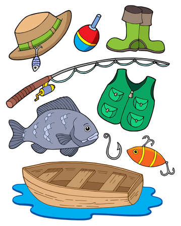 fishman: Fishing equipment on white background - vector illustration. Illustration