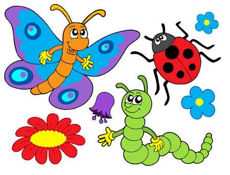 butterfly ladybird: Error y la recogida de flor - ilustraci�n vectorial.