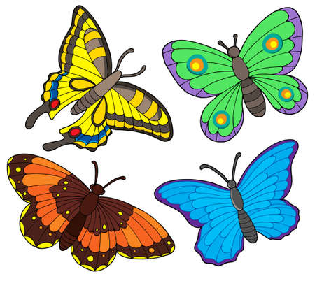 Butterfly collection on white background - vector illustration. Illustration