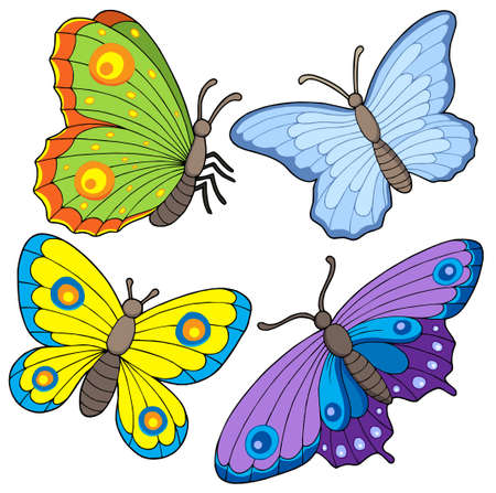 aerial animal: Butterfly collection 2 - colorful vector illustration.