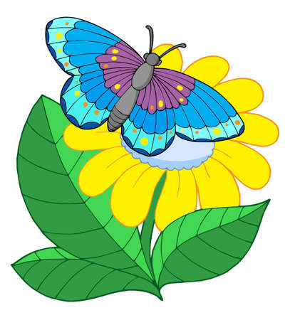 Butterfly on yellow flower - vector illustration. Illustration