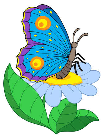 aerial animal: Butterfly with flower - vector illustration. Illustration