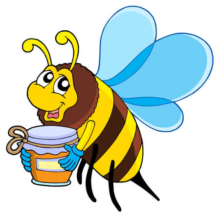 Cute bee with honey - vector illustration. Vector