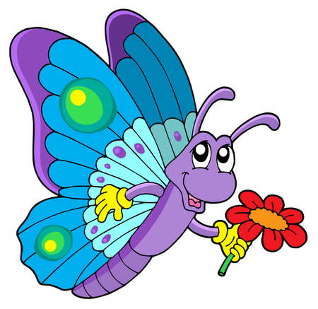 Cute butterfly holding flower - vector illustration. Vector