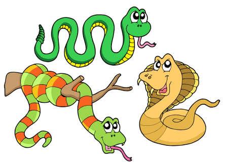 com escamas: Cute snakes collection - vector illustration. Ilustra��o