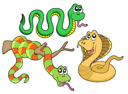 Cute snakes collection - vector illustration.