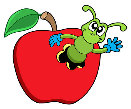 dangle: Cute worm in apple - vector illustration.