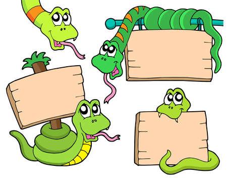Las serpientes con signos de madera - ilustración vectorial.