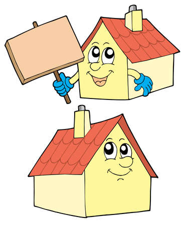Cute houses on white background - vector illustration. Stock Vector - 3407491