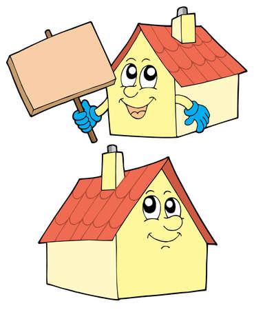 Cute huizen op witte achtergrond - vectorillustratie.