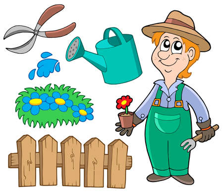 watering can: Garden collection on white background - vector illustration. Illustration