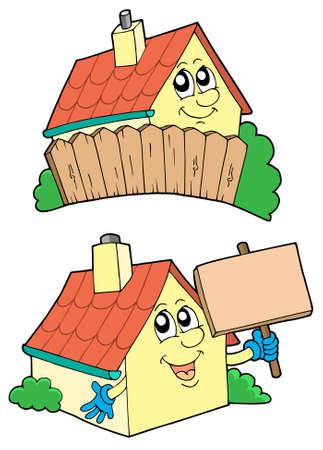Pair of cute houses - vector illustration. Stock Vector - 3407486