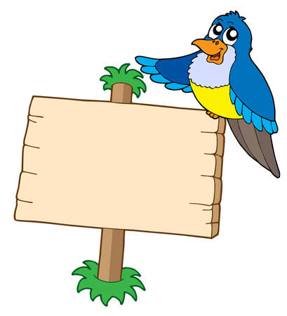 noticeboard: Wooden sign with blue bird - vector illustration.