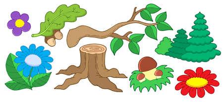 Baum und Blume Sammlung - Vektor-Illustration.