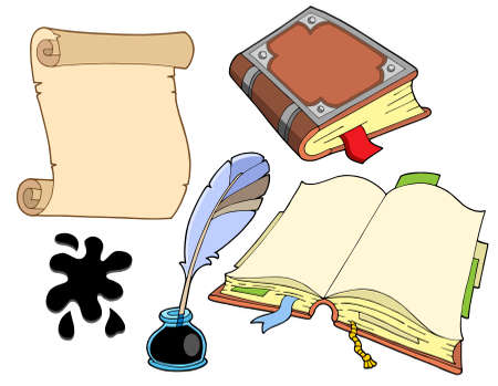old writing: Old books collection - vector illustration. Illustration
