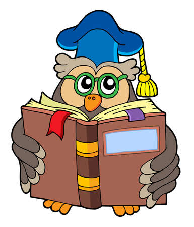Owl teacher reading book - vector illustration. Vector