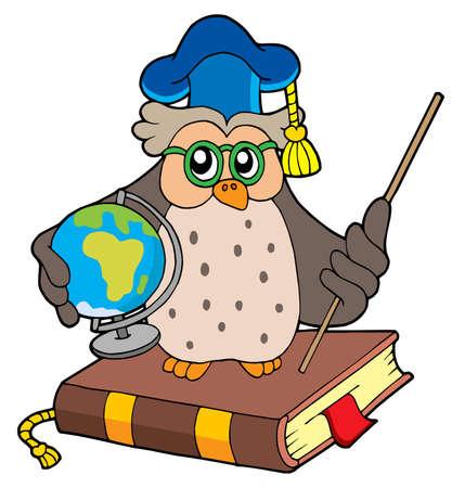 Owl teacher with globe - vector illustration.
