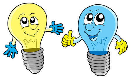 Pair of cute lightbulbs - vector illustration.