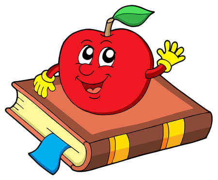 book vector: Smiling apple on book - vector illustration. Illustration