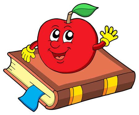face book: Smiling apple on book - vector illustration. Illustration