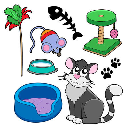 fishbone: Cats collection on white background - vector illustration.