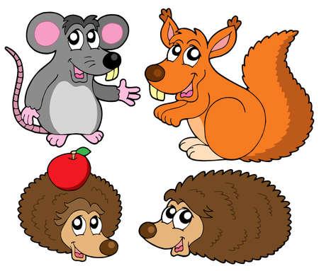 furry animals: Raccolta di piccoli animali - illustrazione vettoriale.