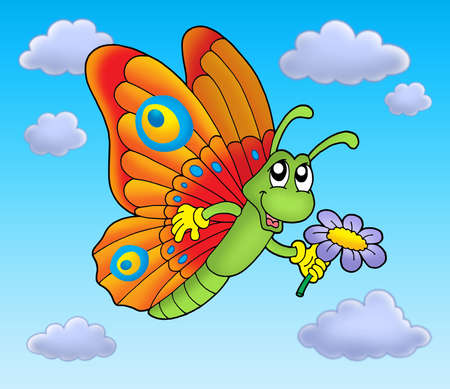 air animals: Butterfly with flower on blue sky - color illustration.