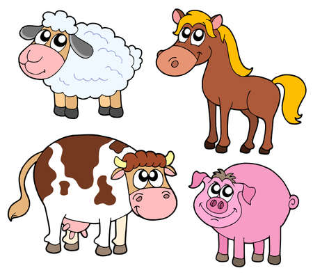Farm animals collection - vector illustration. Vector