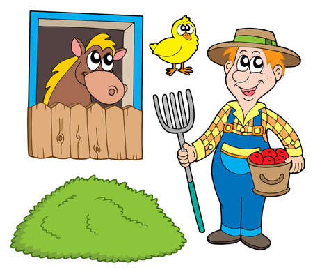 stables: Farmer collection on white background - vector illustration. Illustration