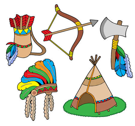 teepee: Indian collection, objects - vector illustration. Illustration