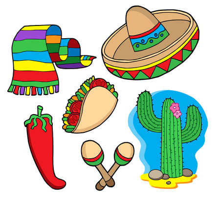 Mexican collection, objects - vector illustration. Stock Vector - 3429869