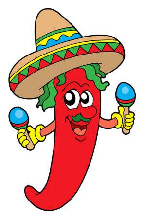spicy chilli: Mexican chilli musician - vector illustration. Illustration