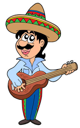 man playing guitar: Mexican musician with guitar - vector illustration. Illustration
