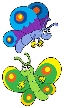 aerial animal: Pair of smiling butterflies - vector illustration.
